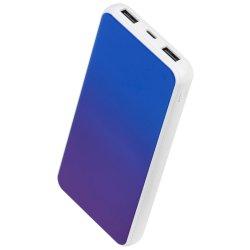 Acumulator extern A+,10.000 mAh, 2 porturi USB, conectivitate micro USB, Albastru