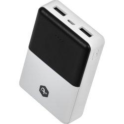 Acumulator extern A+,10.000 mAh, 2 porturi USB, conectivitate micro USB, Negru