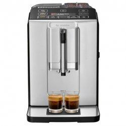 Espressor automat Bosch TIS30321RW, 1300W, 15 Bar, 1.4 l,Rasnita ceramica , dispozitivul spumare lapte MilkMagic Pro, AromaDouble Shot, Argintiu