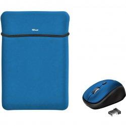 """Husa laptop cu mouse wireless Trust Yvo, 15.6"""", Albastru"""