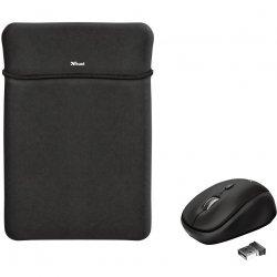 "Husa laptop cu mouse wireless Trust Yvo, 15.6"", Negru"