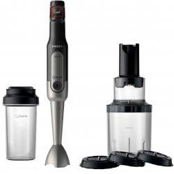 Mixer vertical Philips Viva Colelction HR2656/90, 800 W, viteza variabila, ProMix, spiralizator, recipient on-the-go, Negru/Inox