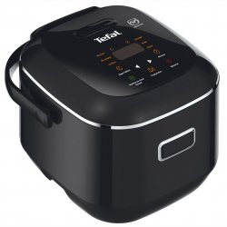Multicooker Tefal Fuzzy Logic RK601800, 350 W, capacitate 2L, functie programare, 7 moduri de gatire, touch control afisaj LED , negru