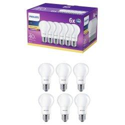 Set 6 becuri LED Philips, E27, 5.5W (40W), 470 lm, A+, lumina alba calda