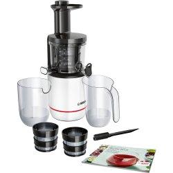 Storcator de fructe cu melc Bosch MESM500W, 150W, 55 RPM, 2 filtre, Melc din Tritan, Reverse, DripStop, Alb