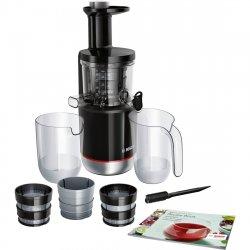 Storcator de fructe cu melc Bosch MESM731M,150W, 55 RPM, 3 filtre, smoothies si sorbet, Melc din Tritan, Reverse, DripStop, Negru