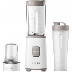 Mini blender Philips HR2603/00, 350 W, 1 L, 2 viteze, recipient on-the-go, multitocator, Alb image