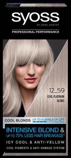 Syoss Color vopsea de par pemanenta 12-59 Cool Platinum Blond 1buc