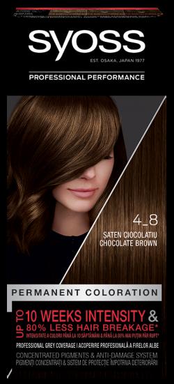Syoss Color vopsea de par pemanenta 4-8 Saten Ciocolatiu 1buc