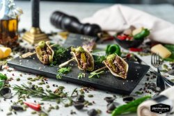3 Angus Beef Tacos, guacamole and Jalapeno Peppers image