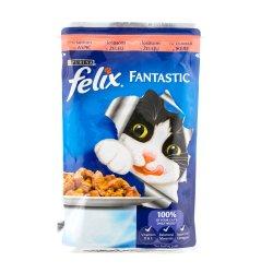 Hrana umeda pentru pisici cu somon in aspic Felix Fantastic 100g Purina image