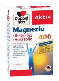 DOPPELHERZ AKTIV MAGNEZIU 400 + VITAMINELE B1 + B6 + B12 + ACID FOLIC 30CPR image