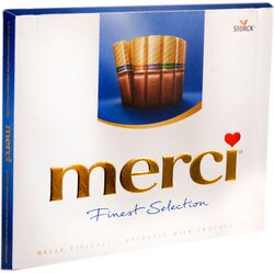 Bomboane de ciocolata asortate Merci albastru, 250 gr. image