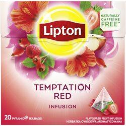 Ceai zmeura si capsuni Lipton Infusion Temptation Red, 20 pliculete image