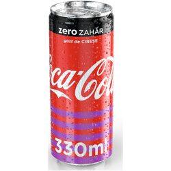 Bautura Carbogazoasa Coca-Cola Cherry Zero Zahar, Doza, 0.33l image
